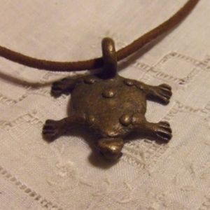 Vintage Brass Turtle Necklace - looks handcrafted